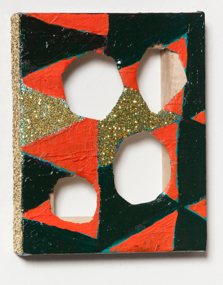 Cut-out-back, 2014, Acrylic paint, oil paint, and glitter on canvas, 6 x 10 inches