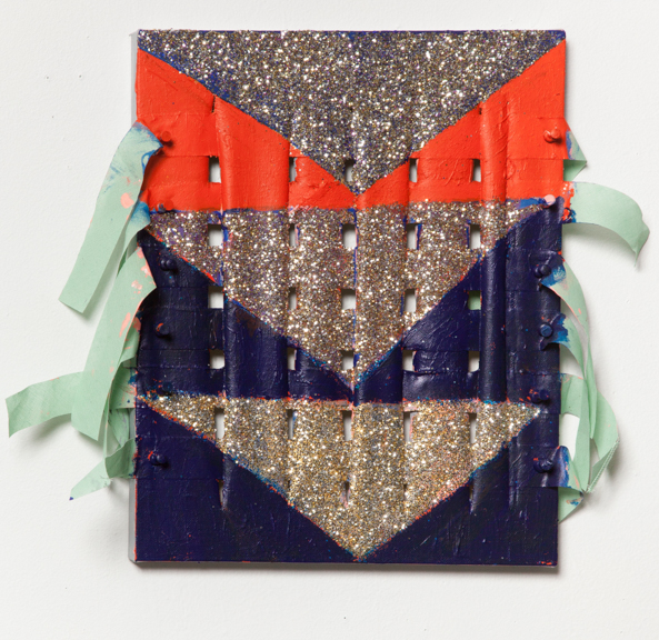 More Triangles to Weave, 2014, Acrylic paint, glitter, push pins, thread, on canvas, 7 x 12 inches