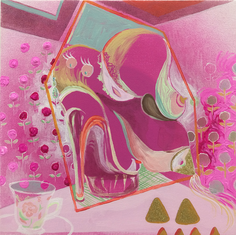 Polly Pocket, 2015, Acrylic, gloss gel medium, and glitter on canvas, 15x15""