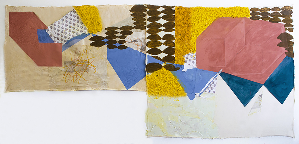 Haldi aur chaval, 2014, Turmeric, acrylic, cooked/uncooked basmati rice, collage and turmeric dyed khadi, 4 x 7 Feet