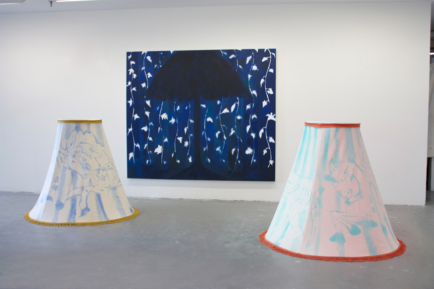 Installation shot of Tiffany, Lampshade-Liquid Gold, & Lampshade 2, 2015, , Media varies, Dimensions vary