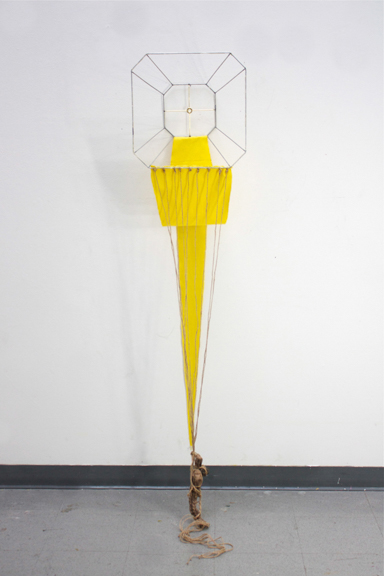 Strung Along, 2014, Lampshade frame, doll heads, twine, fishing wire, fabric, paint, 62 x 16 x 12 inches