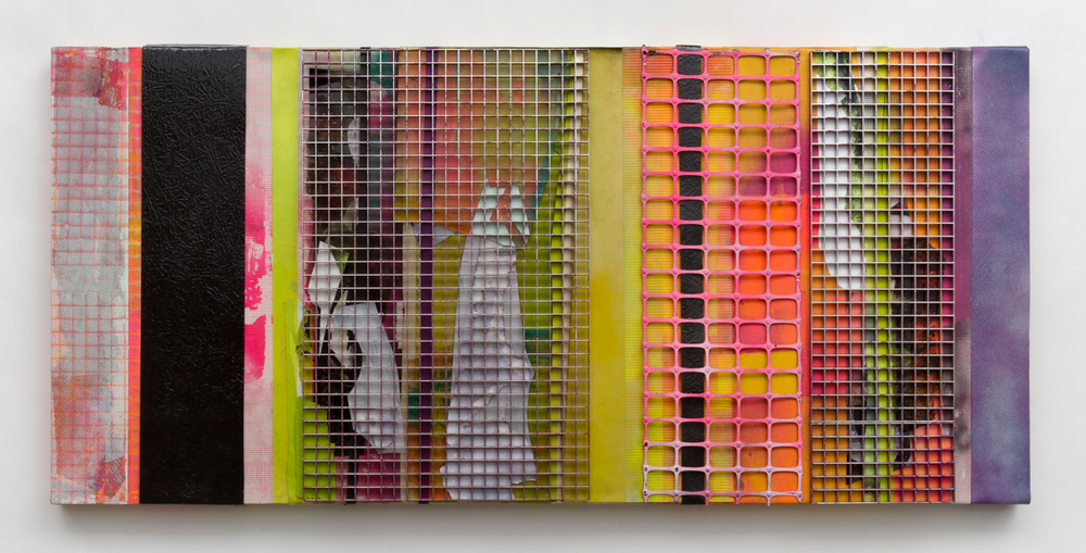 diffuse (4), 2014, Spray paint, egg crate light grids, fencing, aluminum and other found residues on canvas, 24 x 48 inches