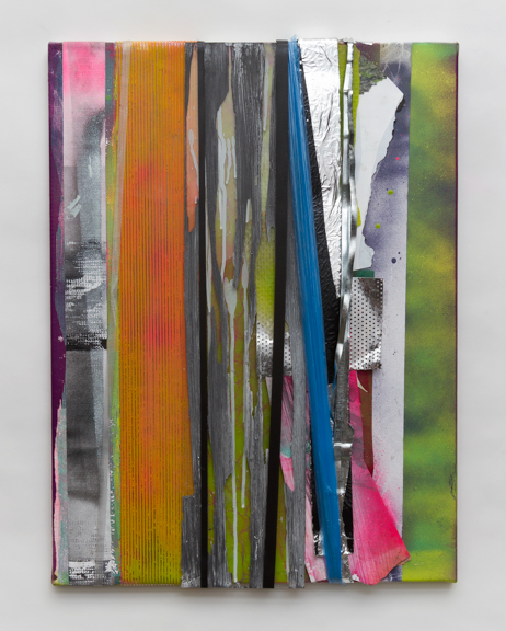 glim, glint, glist, 2014, Spray Paint, plastic wrapping, glass and other found residues on canvas, 24 x18 inches