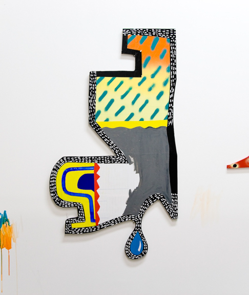 Drip‬, 2015‬, Synthetic polymer, spray paint, correction tape, paper, plywood‬, 46.5 x 26 inches