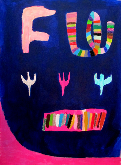 FW, 2015, Acrylic, oil bar, marker on canvas, 48 x 36 inches
