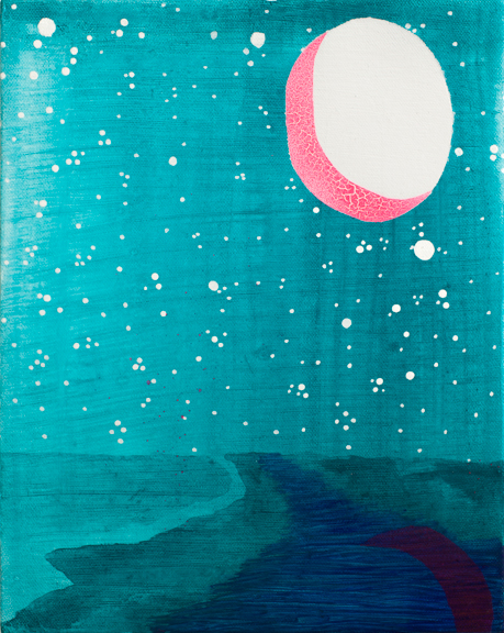 3.	Maelstrom Moon, 2015, Acrylic, gouache, enamel & paint pen on canvas, 8 x 10 inches