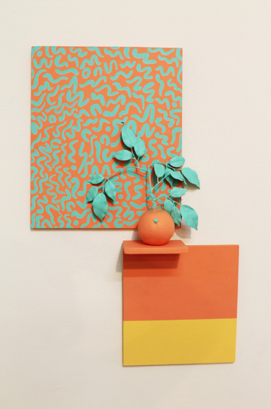 "Mango Swirl, 2014, wood, paint, ceramic, 4"" x 15"" x 25"""