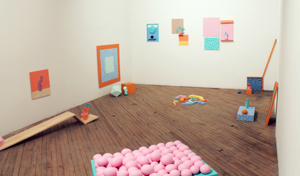 Mango Sherbet (Installation View), 2014, Wood, paint, plaster, ceramic mangoes, fake plants, 11' x 22' x 12' x 19'!