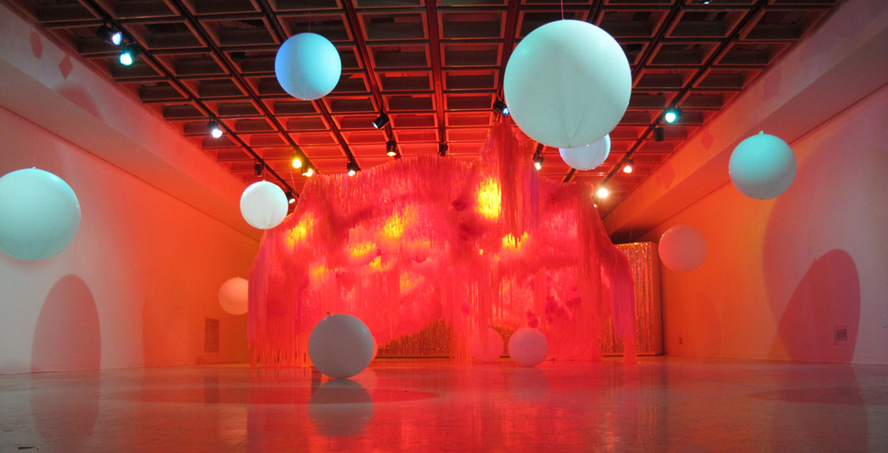 Bloom Bloom, 2013-2014, Chicken wire, flagging tape, balloons, light, 11' x 20' x 20'