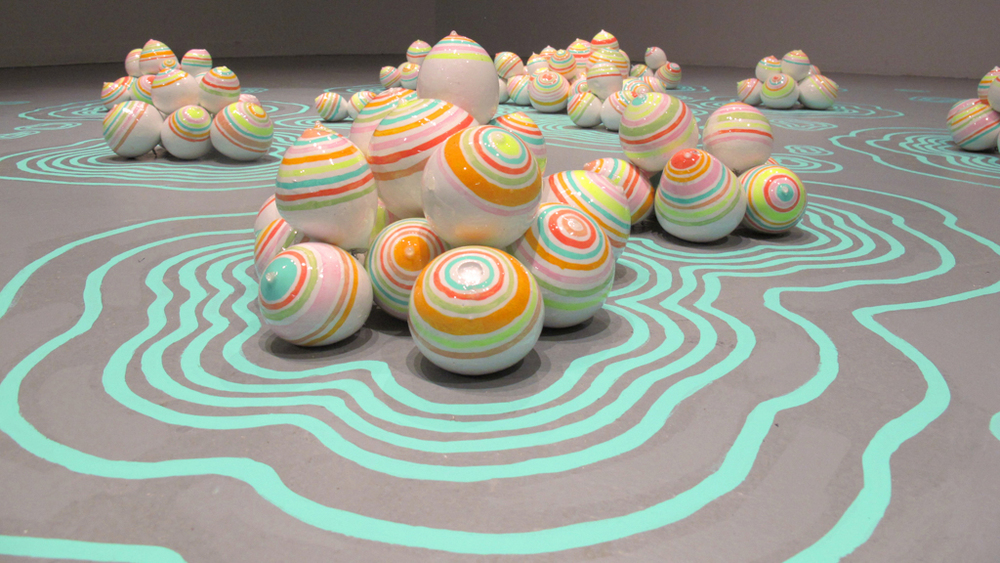 Candyland, 2013, Plaster, paint, resin, 1.5' x 15' x 13'