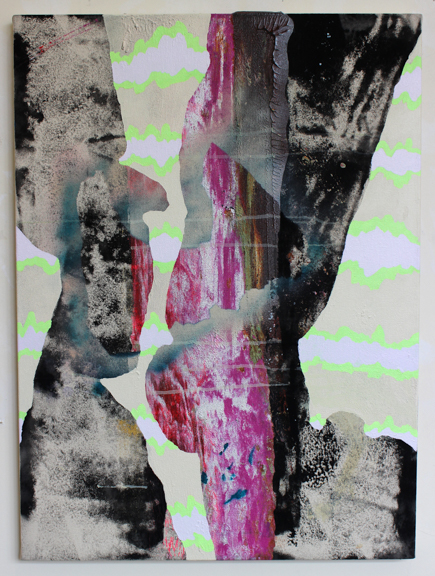 Science/Faith, 2015, acrylic and spray paint on canvas, 30 x 22""