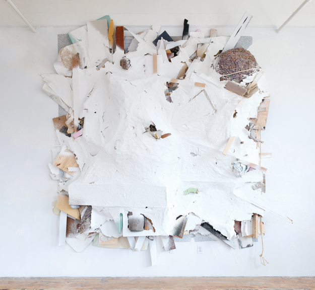 A Night's Mission, 2012, Wood, plaster, vinyl, laminate, linoleum, carpet, foam, acrylic, rope, nails, and window blinds on wall, 168 x 144 x 24 in