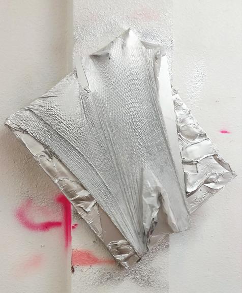 Playa del Platinum 2015 Plastic trash bag, silver pigments, oil, acrylic aerosol 27 x 23 inches