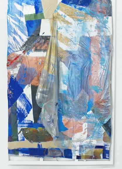 Malibu, 2015, Plastic drop cloth, house paint, aerosol spray, white wood frame, 72 x 48 inches