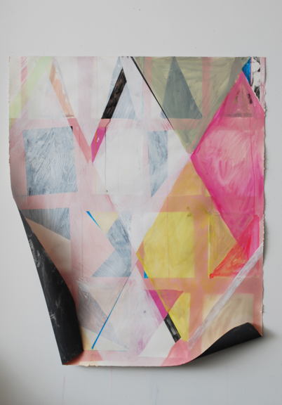 Pioneer, 2013 Acrylic, spray paint, gouache, latex, graphite powder, image transfer and staples on paper, 51 ¼ x 42 ½ x 3 inches