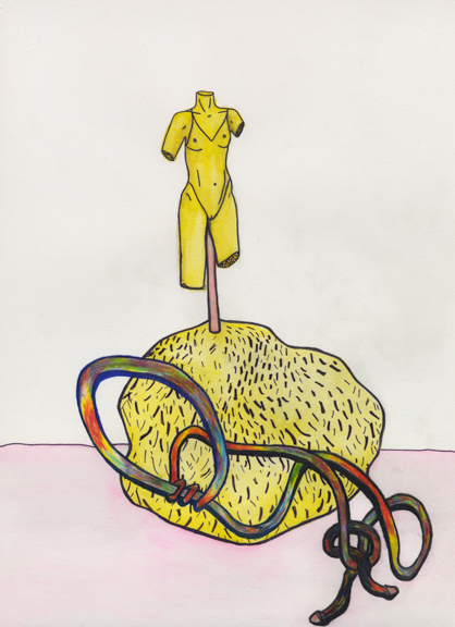 Butter Babe, the snake, and the rock, 2015, Colored pencil, watercolor, and pen on paper, 9 x12 inches