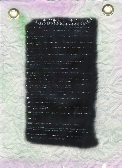 Promise Yourself, 2015, Laserprint on transparency film, spray paint, Japanese paper, brass rivets edition of 19, with one artist's proof, 8.67 x 11.4 inches