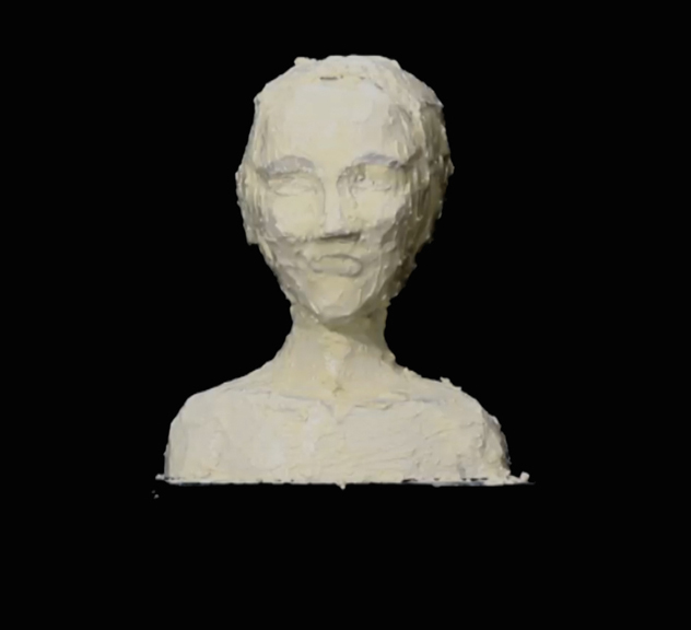 Being the Butter Babe, Image from video still, 2015, Styrofoam, latex pigment, butter, figure modeling stand 4 feet (Height Adjustable) x 20 x 20 inches