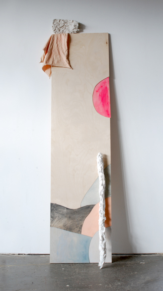 Shaman, 2013, Cut and painted wood, aluminum foil, plaster, celluclay, painter's rag, 78 x 22 x 4 inches