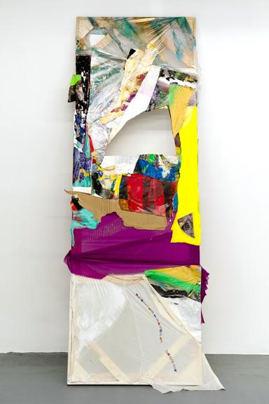 Size Matters, 2015, Chiffon, oil, pigment powder, cardboard, aerosol spray 108 x 39 inches