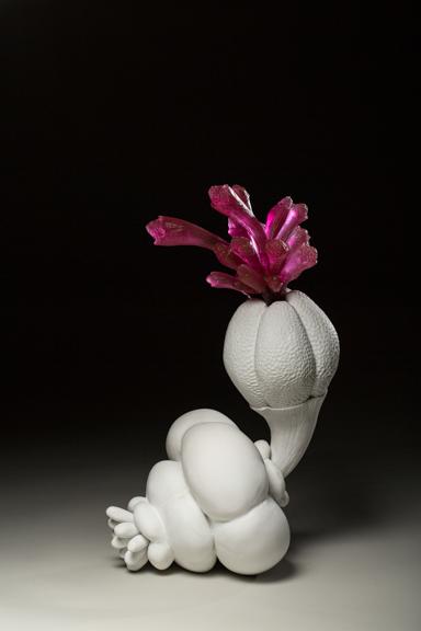 "Kecskemét Bloom, 2014, porcelain & glass, 17"" x 8"" x 9"""