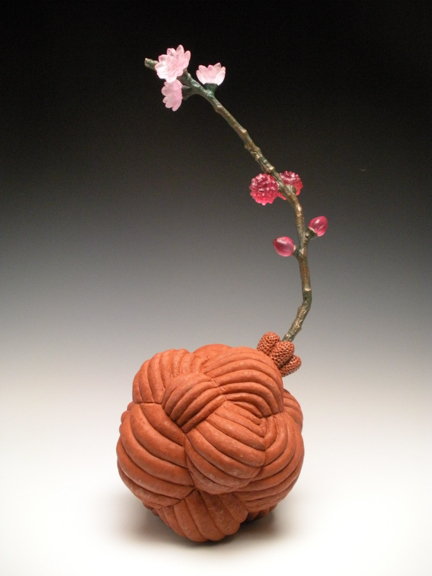 "Ruby Blossom, 2013, terracotta, bronze, glass 15"" x 6"" x 6"""
