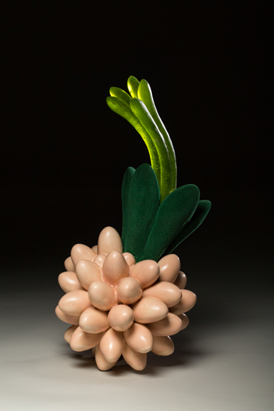 "Springing Forth, 2014, porcelain, glass & flocking, 19"" x 11"" x 11"""