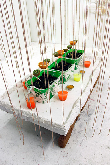 Detail Shot of Ephemeral Station for Pigment Production, Plaster,foam,fruits,plastic,acyrlic,sponges,yarn,chicken wires and electrical cords, 2013