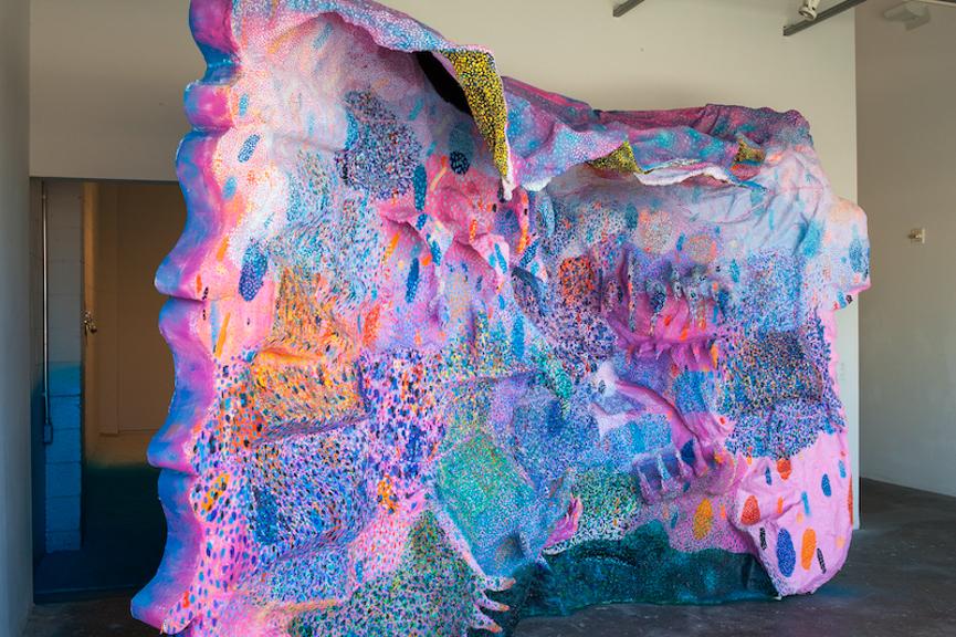 Redondo Sunburns, 2013, oil, acrylic, flashe vinyl paint, enamel paint, spray paint, papier-mache, aluminium foil, foam, thermoformed plexiglas, wire mesh, canvas on wood structure, 12.5' x 3' x 8.5'
