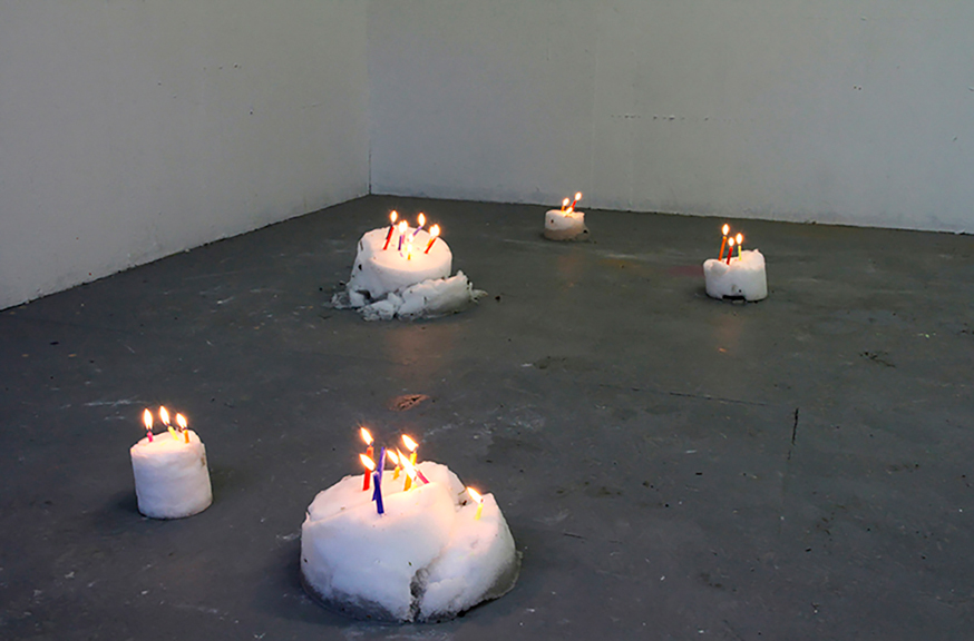 Party Extra Light, 2014; Snow, candles. Variable dimensions and duration.