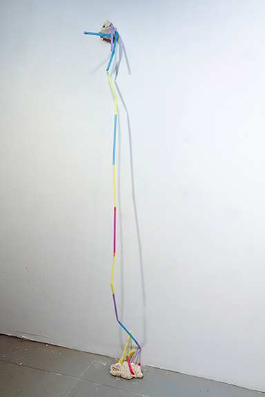 "Stra(w)tegic, 2015; Unfired clay, plastic straws, 71"" x 9"" x 11"""