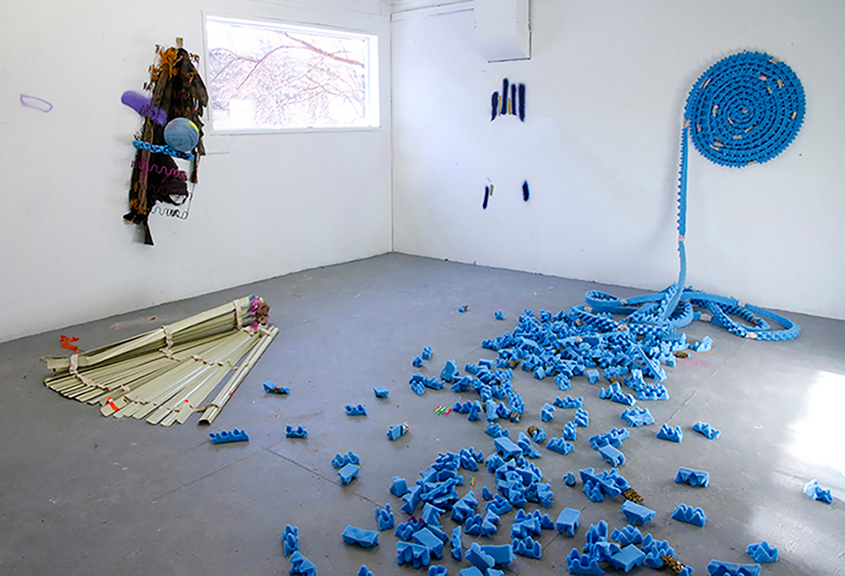 Roll on, 2014, Found objects, cutout foam mattress, spray paint, Variable Dimensions.