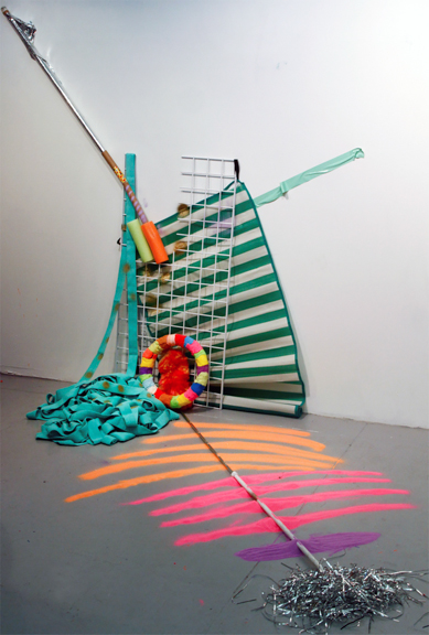 "Who let the stripes out?, 2015; Found and ready made objects, tape, model magic clay, 78"" x 85"" x 67"""
