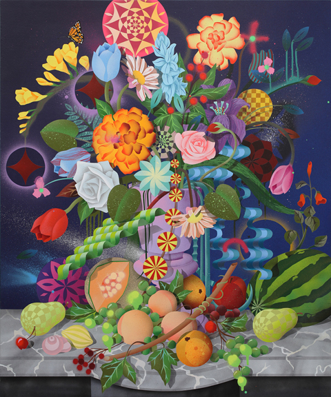 Still Life with Fruits & Flowers, 2015, aerosol acrylic on panel, 36 x 30 inches