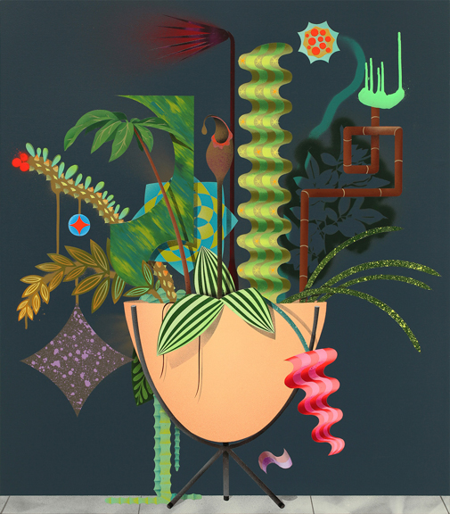 Garden in a Bullet, 2015, aerosol acrylic on panel, 32 x 28 inches