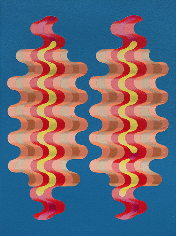 Two Hotdogs, aerosol acrylic on panel, 16 x 12 inches, 2015