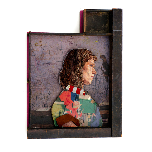 Audrey, 2015, Oil on panel, found wood, rubber, vinyl record, other mixed media, 10 x 7.5 x 1.5 inches