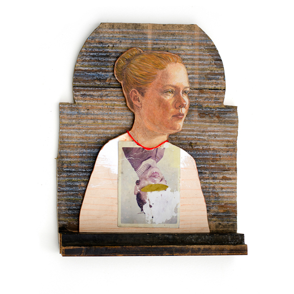 Betsy, 2015, Oil on panel, crayon, found wood, found photograph, thread, other mixed media, 9 x 7 x 1.5 inches