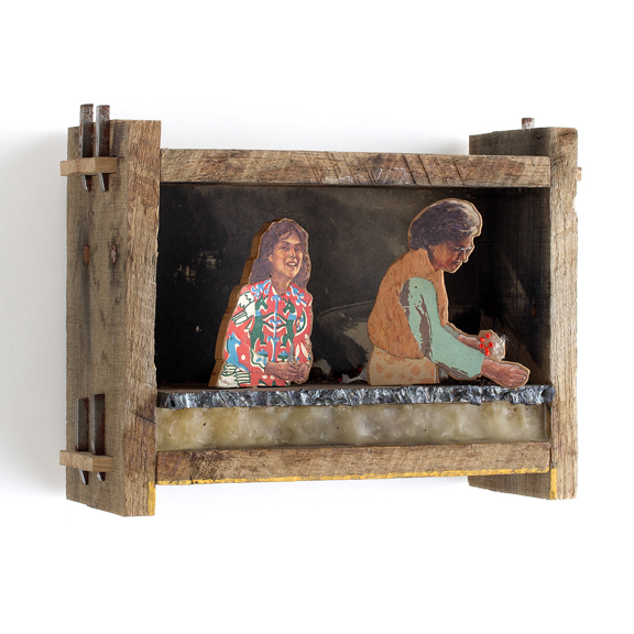 Fawn and Reba, 1981, 2014, Oil on panel, collage, steel, wax, found wood. 9 x 6 x 3 inches