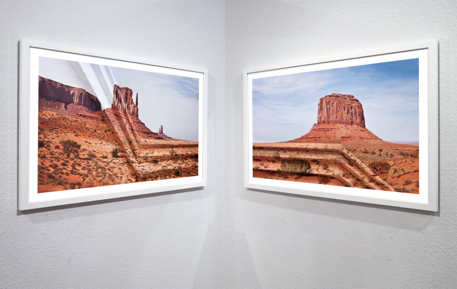 Mountains + Valleys (Monument Valley #1, Diptych) 16 x 24.75 inches each // 18 x 26.75 inches framed // 18 x 54.5 inches total dimension Archival Digital Prints 2013