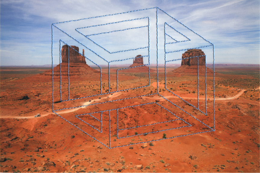 Impossible Objects (Monument Valley) 7.5 x 11 inches Archival Digital Print and Thread 2014