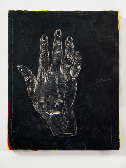 "2YRSAFTERZEUS, Two Years After Zeus, 2015, Chalk and acrylic on panel 5"" x 7"" - Chalk drawing of artist's hand two years after suture removal on panel."