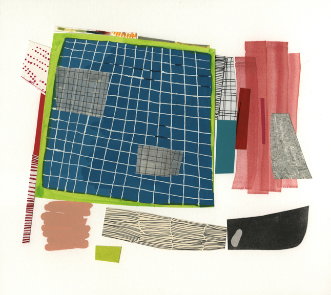 "grid bias  | 2014  Gouache; printed (line etching, screenprint), painted (gouache, watercolor), drawn (color pencil, pen) and found collage on cotton rag board, 12"" x 13.5"""