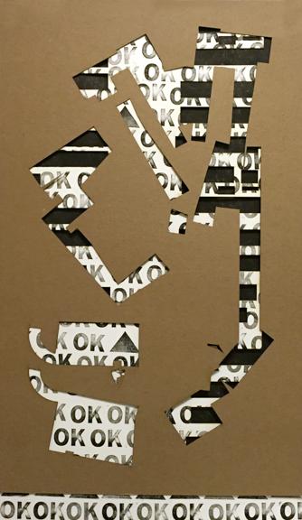 """OK, 2015, laser cut Bristol Board, chipboard, ink & Tyvek, 32"""" x 19"""""""