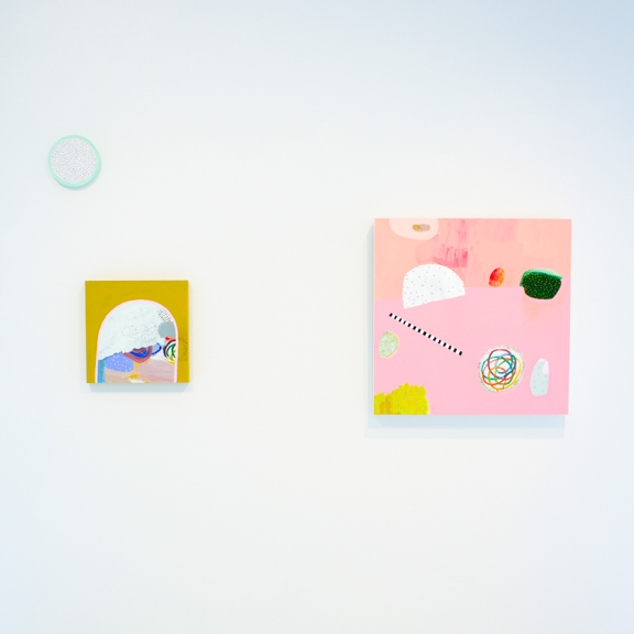 sugar sugar  install, 2015, mixed media on panels, dimensions variable