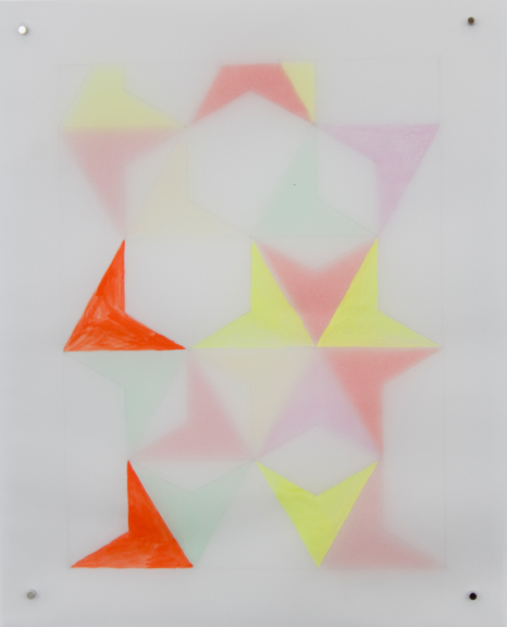 Rearrangeable Drawing: Equilateral Triangle (Open)   Gouache and colored pencil on vellum  10 x 8 inches  2016