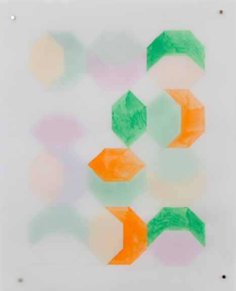 Rearrangeable Drawing: Hexagon (Green)  Gouache and colored pencil on vellum  10 x 8 inches  2016