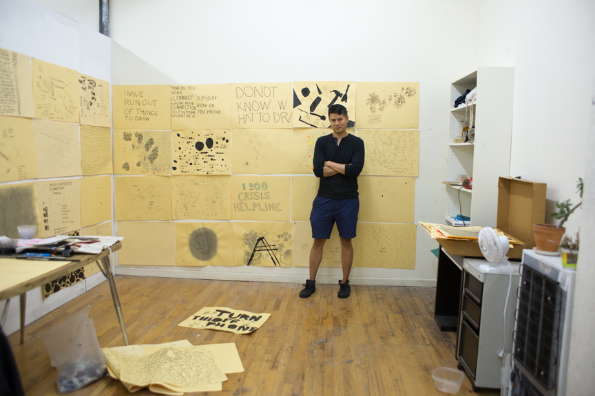 Seldon in his Bushwick studio