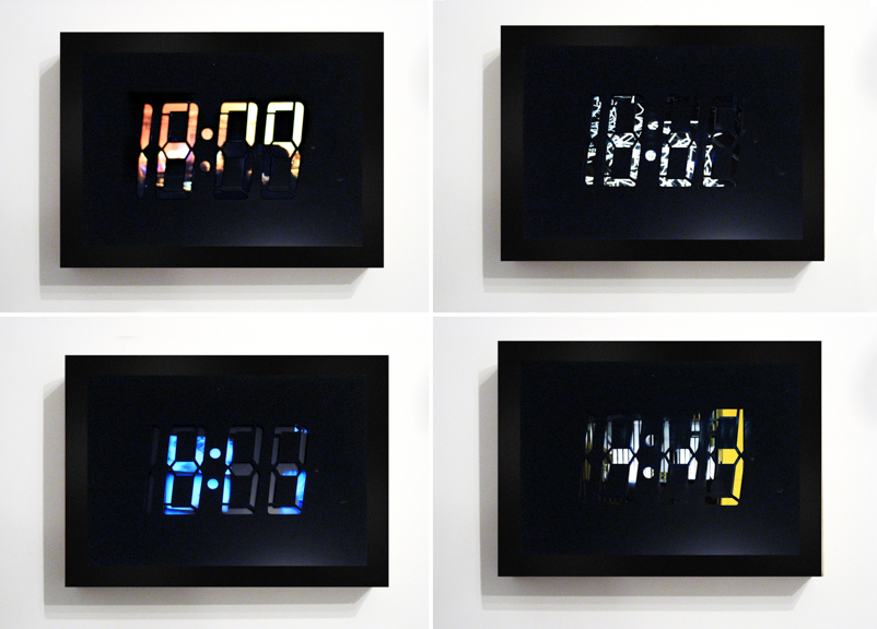 Untitled (clock),  2009, wood, plexi glass, portable dvd player, DVD 24 hour loop, 13.5 x 9.5 x 4 inches